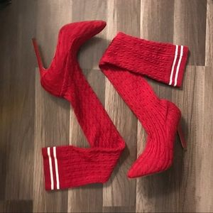 Shoes - Red over the knee sock booties